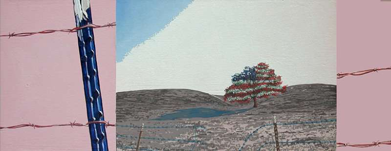 Flag Tree and Pink Field - Art by Michael Knight